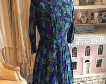1950s blue and purple cotton day dress