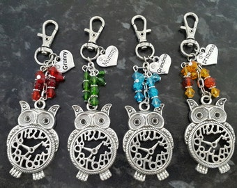 Steam punk owl clock bag charm, keyring beads birthday gift, thank you, friend mummy, mum, mothers day gift. Choose beads and heart