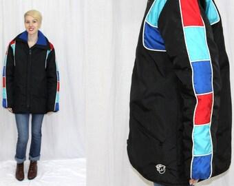Vintage 70s 80s ARTIC CAT Black Colorblock Retro Snowmobile Coat Jacket M Tall