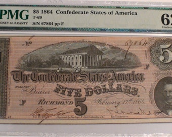 1864 Civil War US Confederate 5 Dollars, Richmond Virginia, Authenticated by PMG Antique United States Currency Paper Money