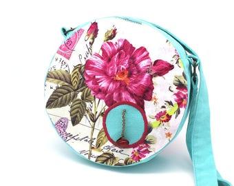 Sac rond en coton bleu lagon et fleur fuchsia