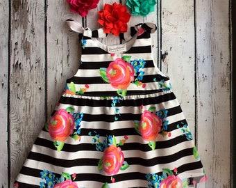 6-9 month floral stripe dress
