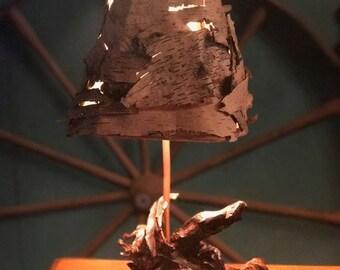 Birch Shade Root Lamp