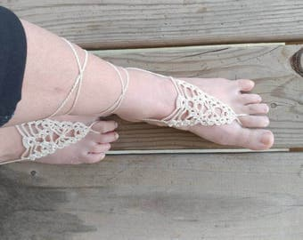 Crochet barefoot sandals, beach sandals, wedding accessory