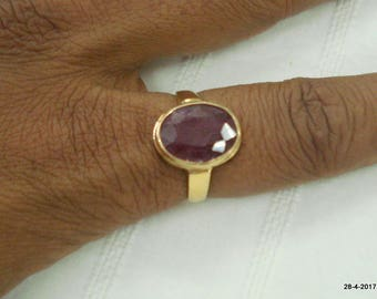 vintage 18kt gold ring ruby gemstone ring handmade gold jewelry