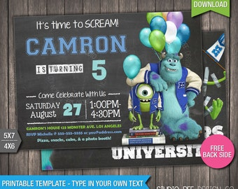 monsters university invitation 50 off instant download monsters inc printable birthday