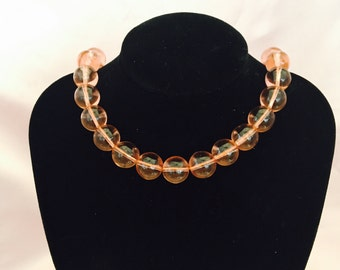 Vintage Pink Long Glass Beaded Necklace