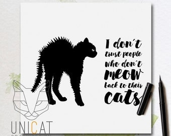"""card / poster """"meow"""" hand lettered"""