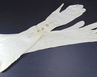 Vintage White, Ivory Leather Opera Length Gloves