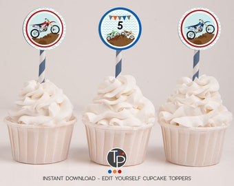 Motorbike Cupcake Toppers, Instant download Motorbike Cupcake Toppers, Motocross Cupcake Toppers, Dirt Bike Cupcake toppers, Dirt Bike Party