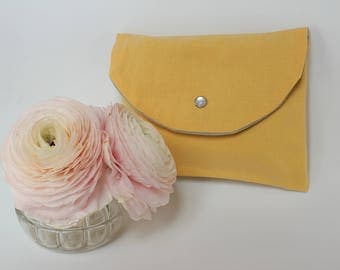 Yellow pocket flap/Kit storage, for handbag - yellow - made from old fabric