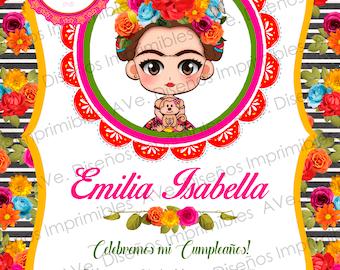 Frida Kahlo Invitations Party, Frida Kahlo Birthday Invitations, Frida Kahlo Mexican Party, Frida Kahlo Floral and Stripes Invitations