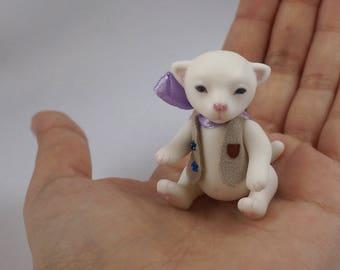 20% off. Little porcelain teddy kitten, bjd by Ellidolls.