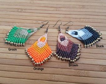 FREE SHIPPING, Macrame Earring, Thai Handmade earring, Brass  earring,bohemian earrings, Summer earring