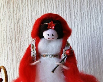 Hand made wool Felted Fairy.  Red Riding Hood. Fairy Tale