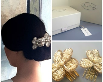 Beaded Gold Flower Bridal Hair Pins by Jenoco Design