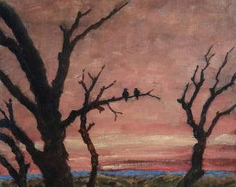 Birds in the Sunset.  Original oil painting on panel, ready to hang, hand primed with traditional chalk gesso