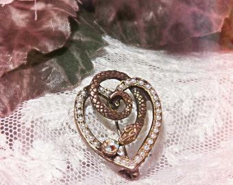 Vintage HEART Snake PIN~Pearl Aurora Borealis Brooch~ Steampunk TATTOO
