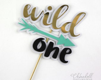 wild one cake topper   READY TO SHIP   first birthday   bamboo skewer   tribal boho bohemian gold arrow