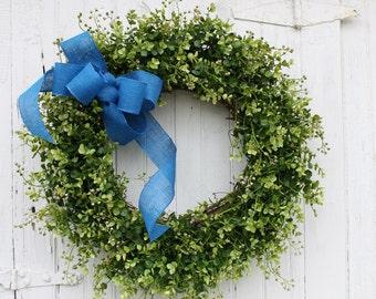 Boxwood Wreath, Farmhouse Decor, Green Wreath, Front Door Wreath, Burlap Wreath, Blue Wreath, Spring Wreath, Easter Wreath, Outdoor Wreath