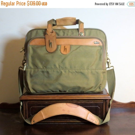 Football Days Sale Hartmann Triple Compartment Ballistic Nylon and Belting Leather Carryon Briefcase- Excellent Condition