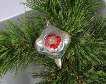 Vintage Hand Blown Hand Painted Teardrop Double Indent Christmas Ornament