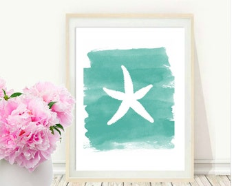 Starfish, Printable Art,  Coastal Decor, Watercolor Starfish, Beach House Decor, Wall art, Wall Decor,  Digital Download
