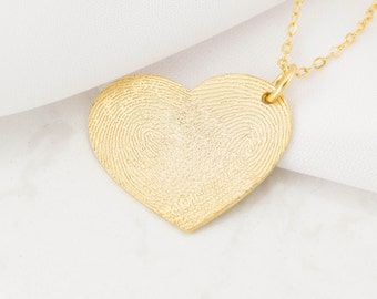 Fingerprint Jewelry - Actual Fingerprint Necklace - Custom Fingerprint - Personalized Gift - VALENTINES GIFTS