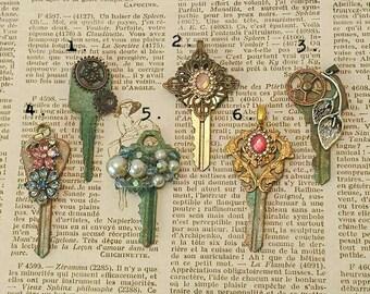 Vintage jewelry Upcycled key pendant steampunk key steampunk jewelry industrial jewelry Swarovski Victorian filigree patina vintage glam
