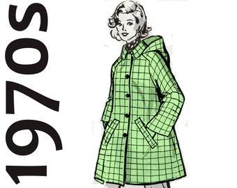 "Womens Coat Pattern Hooded Jacket MAIL ORDER 8325 FF bust 38"" A-line Coat Vintage Coat Pattern 1970s Coat Detachable Hood Ladies Coat"