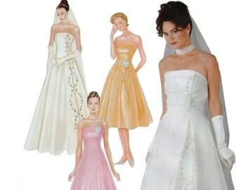 """Strapless Wedding Dress Ball Gown Pattern SIMPLICITY 7068 FF sz 6-12 bust 30.5-34""""  Princess Gown Sheer Overskirt Wedding Gown Pattern"""