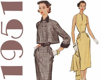 "1950s Wiggle Dress and Jacket Cropped Jacket McCALLS 8577 bust 32"" 1950s Dress Pattern 1950s Ensemble Sleeveless Dress Straight Dress"