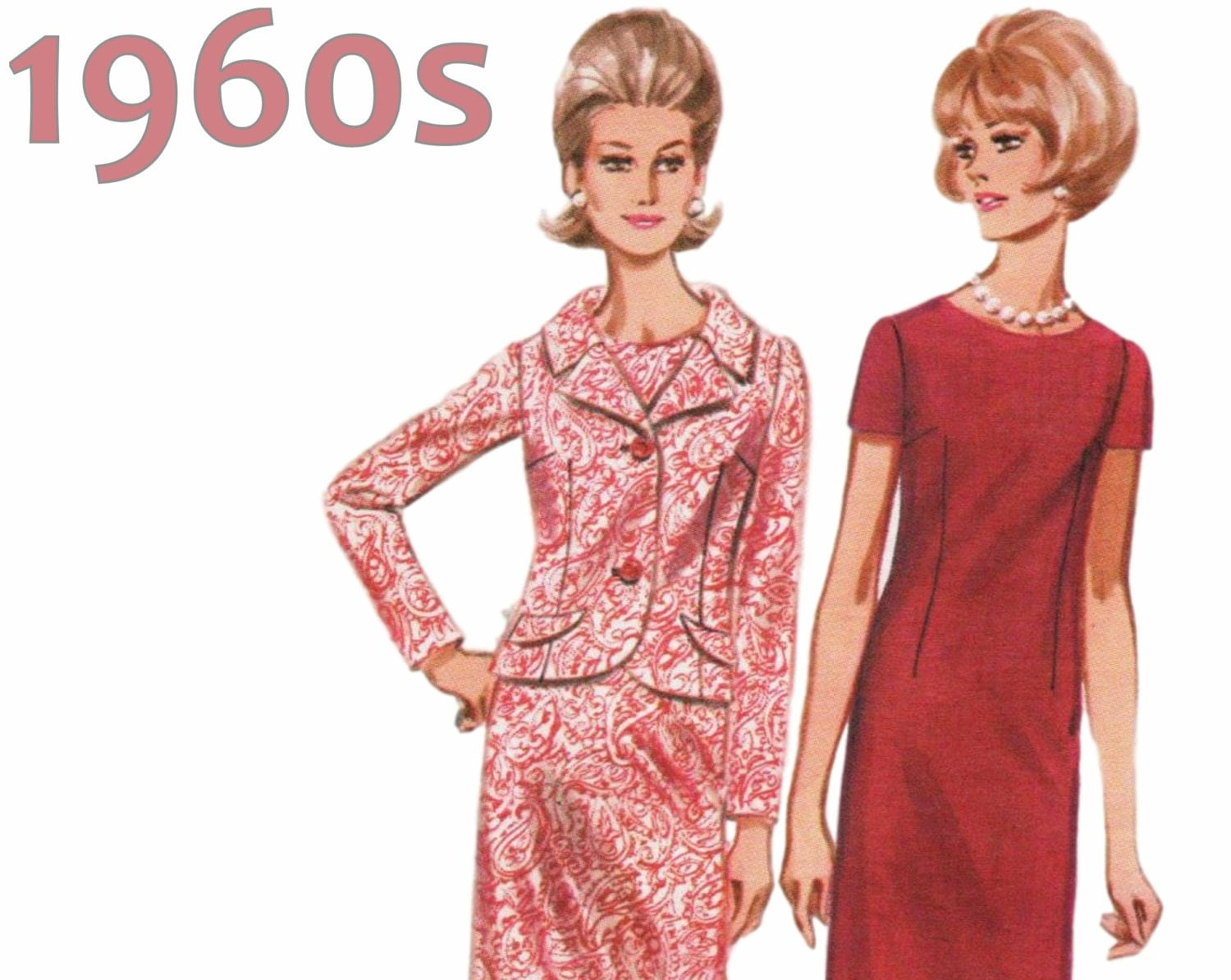1960s dress and jacket pattern butterick 4243 bust 37 for Creer dressing