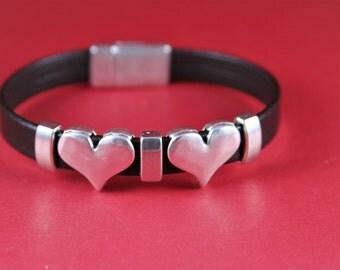 3/6 MADE IN EUROPE 2 zamak heart sliders, flat cord slider, flat cord heart sliders, silver heart sliders(8467-0077) Qty2