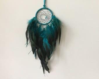 Small Blue Dreamcatcher - small dream catcher, blue dream catcher, blue dreamcatcher, blue decor