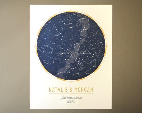 Star Chart Couples Custom Print: Celebrate a wedding or