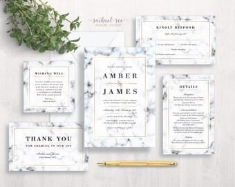 Marble Wedding Invitation Set   Wedding Invitation Suite   Wedding Invitation Set Printable   Elegant Wedding Invitations   White Black Grey