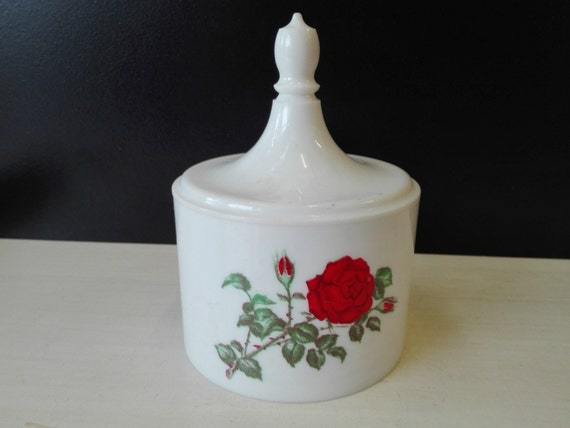 Plastic cotton canister, rose