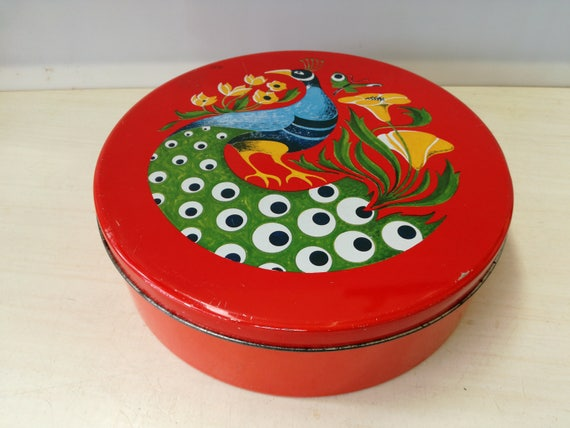 Vintage cookie tin, bird