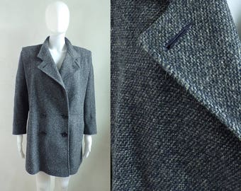 40%offAug18-21 wool coat size medium, 80s navy blue gray double breasted coat, wool tweed coat, 1980s womens minimalist coat