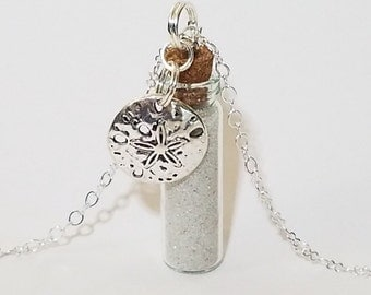 Bottle Vial Necklace: FL Sand with Sand Dollar Charm