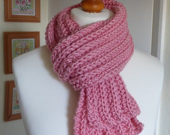 Beautiful shell pink hand knitted chunky scarf in a premium wool and acrylic mix yarn
