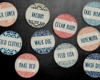 Chore Magnet Set - Chores, To Do List, Household Tasks, Kitchen, Responsibilities, Fridge Magnets, Kids Chores, duty, household, housework