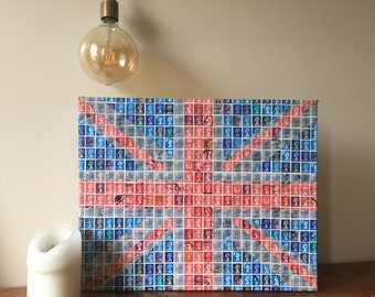British Union Jack Flag made using Postage Stamps of Queen Elizabeth II