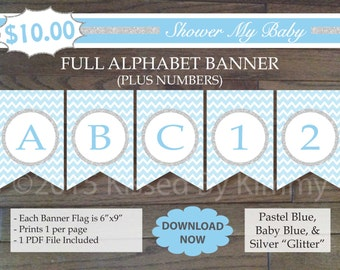 SALE - Blue and Silver Baby Shower Banner -60% Off- FULL ALPHABET + Numbers -Printable Birthday Banner- Pastel Blue Silver Glitter  15-S47