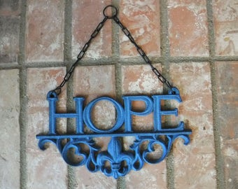 Hope, Cast Iron Hope Sign, Rustic Blue Hope Wall Decor, HOPE Gallery Wall, Hope Cast, Iron Wall Decor Plaque, Shabby Chic Decor, Rustic Sign