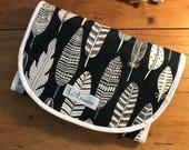 Universal Pram Liner, Stroller Liner, Buggy Liner - 100% Cotton - Dark Navy Feathers
