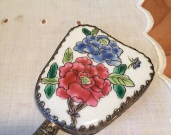 Vintage Porcelain Mirror with Jade Handle