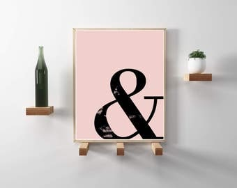 And ampersand minimalist typography print with pink background. Modern, minimal, scandinavian wall art. Instant Download.
