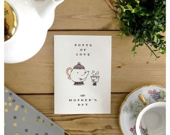Mother's Day Card // funny mothers day card, card for mom, funny card for mom, tea, tea pun, beauty and the beast, mom pun, pun card, punny